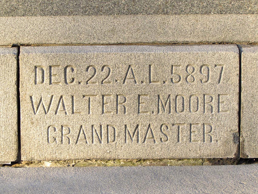 Masonic stone covering the time capsule.