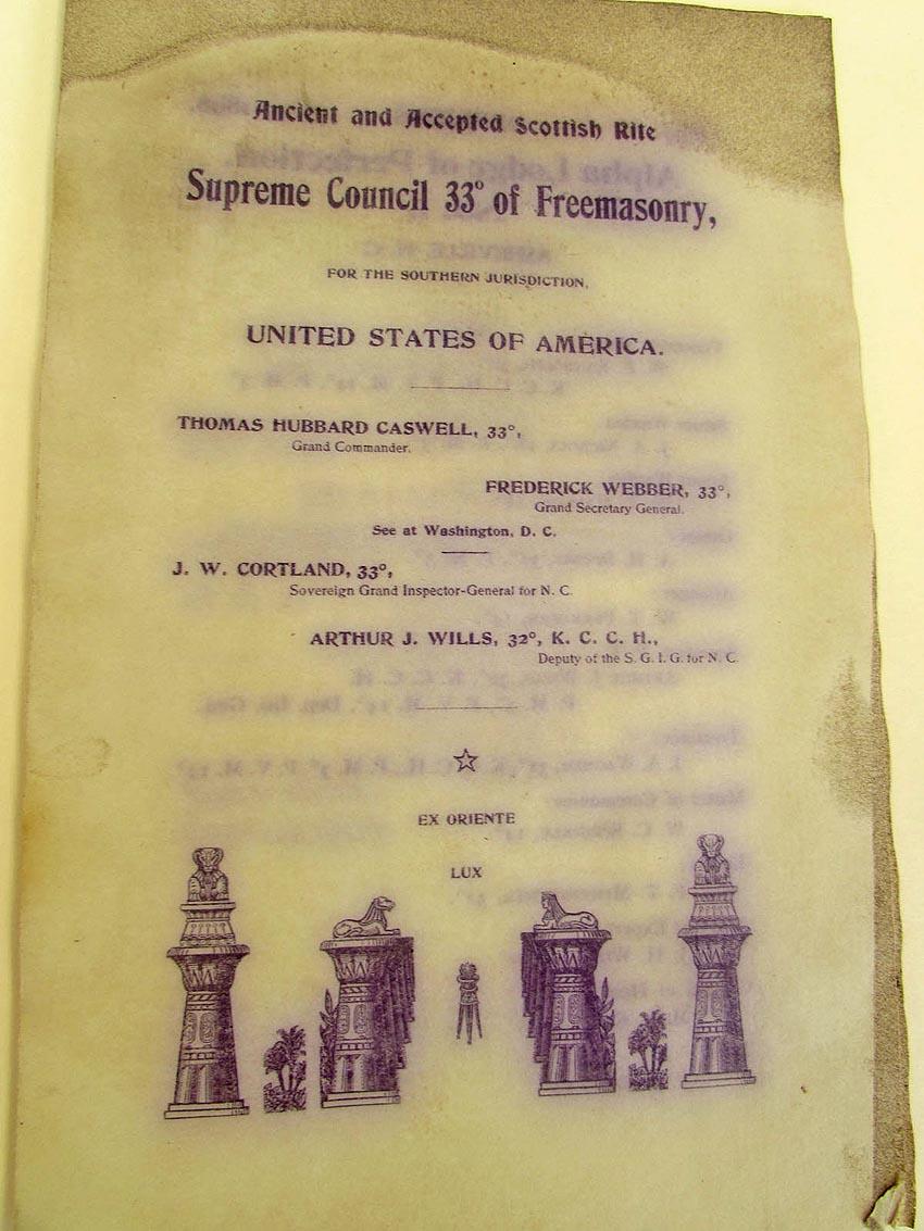 Masonic booklet, 1897