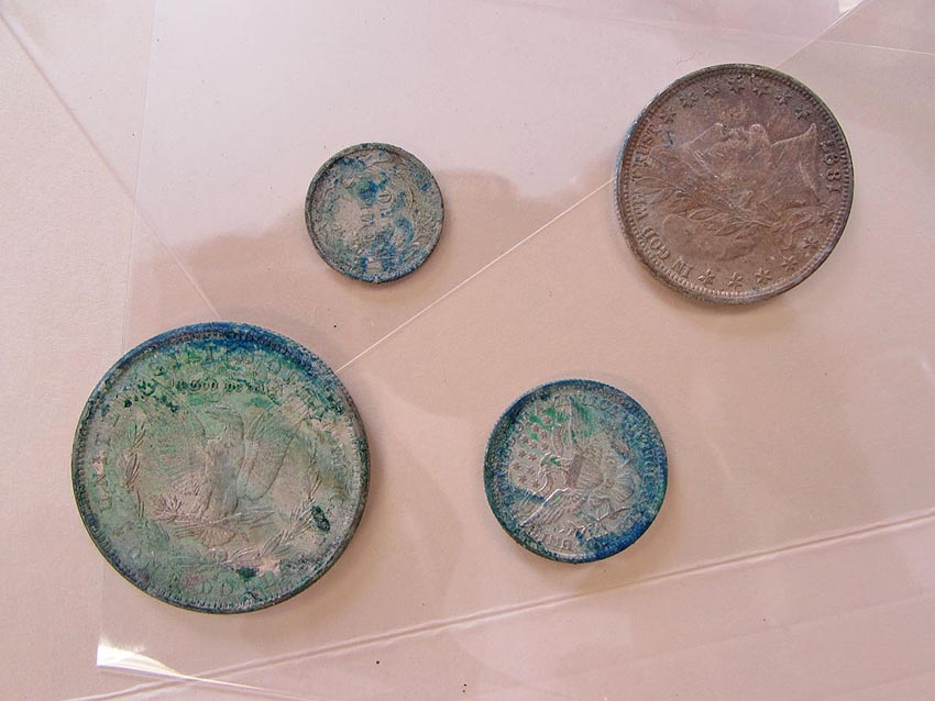 Silver coins found in the time capsule.