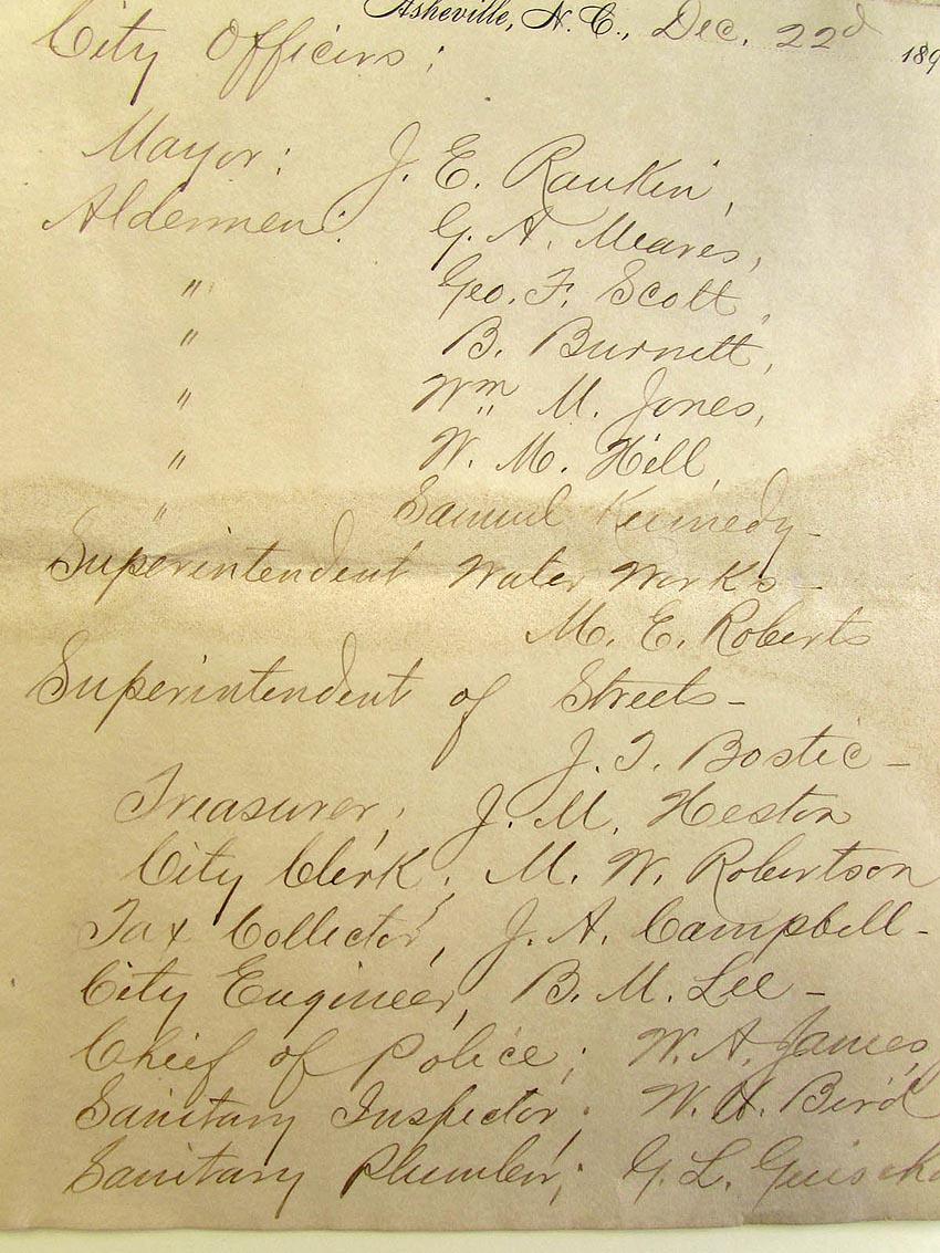 Asheville City Officials, 1894