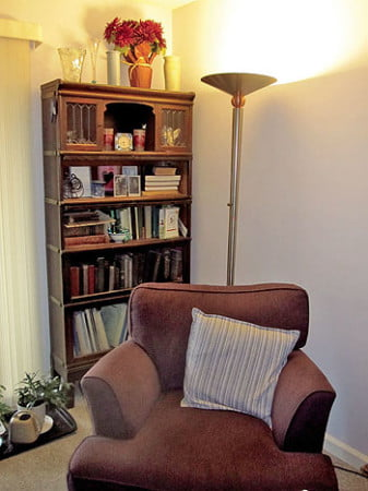 Instead of maintaining a big house, Beth and Bob have set up nooks that are cozy, and just the right size.