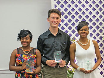 AKA Scholarship recipients (L-R):  Emagine Montgomery, Adrian Pomeroy, and Caleah Hallum.  Photo: Urban News