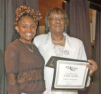 Emagine Montgomery, scholarship  recipient, and Gloria Gilliam, Link's Scholarships Chairperson.  Photo by Doug Grant Photography