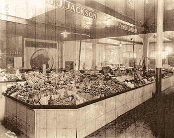 B.J. Jackson's vegetable stand opened on Pack Square in 1897.