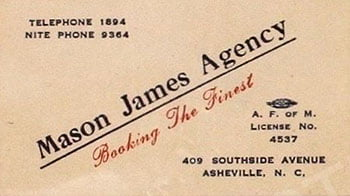 James Mason Agency card