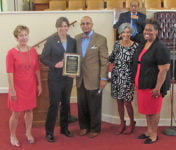 (L-R) City of Asheville Vice Mayor Gwen Wisler, City of Asheville Police Chief Tammy Hooper, Rev. Dr. Keith A. Ogden, Pastor of Hill Street Baptist Church, Carol Rogoff Hallstrom, Esq., Asheville Citizens Police Advisory Committee member, and Rev. Alaysia Black Hackett.  Photo: Urban News