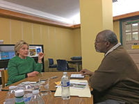 Former Sec. of State Hillary Clinton speaks with Cash Michaels.  Photo courtesy of Cash Michaels