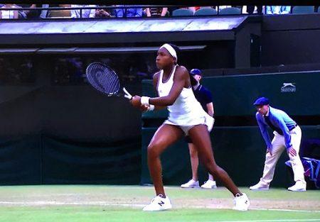 Cori Gauff playing at Wimbledon