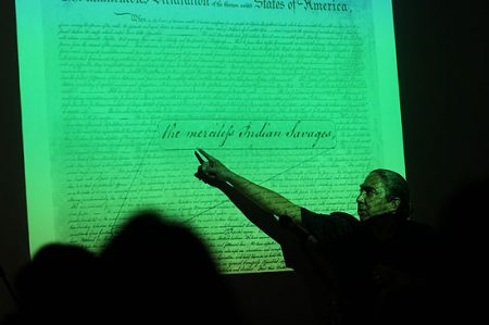 Mark Charles speaks about the Declaration of Independence. Photo: Kris J. Eden