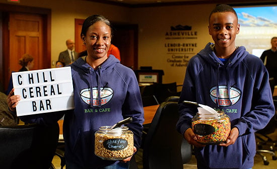 Patricia Waters and her son Elijah Waters launch the Chill Cereal Bar.