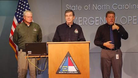 Governor Roy Cooper discusses emergency preparations.