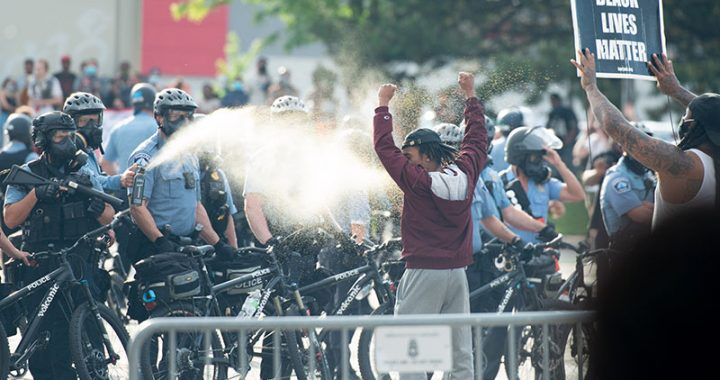 Demonstrators Attacked by Police While Protesting the Killing of George Floyd