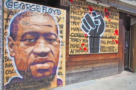 Mural of George Floyd in downtown Asheville.