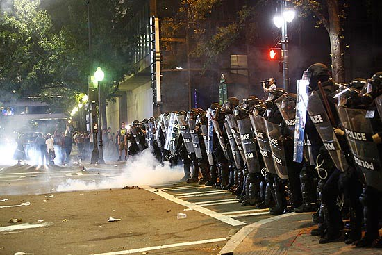 Line of police during protests in Charlotte, NC.