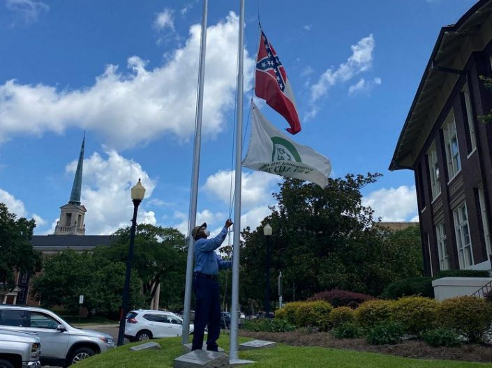 Flag on state grounds is lowered in Laurel, Mississippi