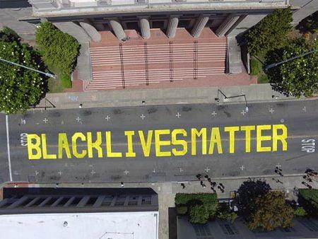 Black Lives Matter street mural in Martinez, California.