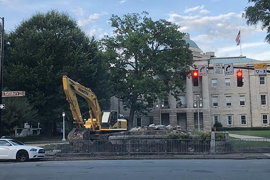 The large Confederate monument that once stood on Hillsborough Street in Raleigh has been removed.