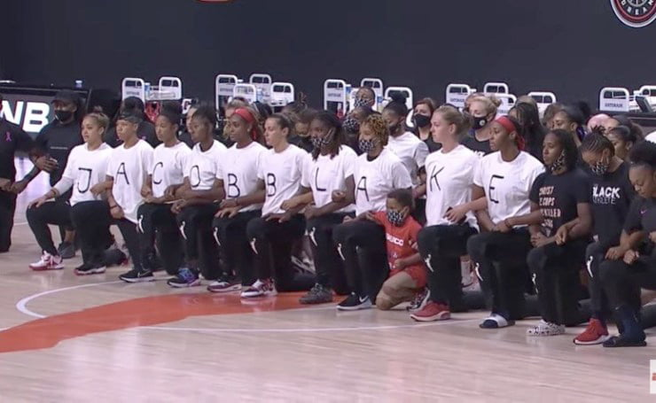 the Washington Mystics' women's pro basketball team came to practice in shirts that spelled out Jacob Blake
