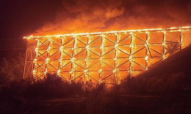 Railroad Trestle Burns and Collapses