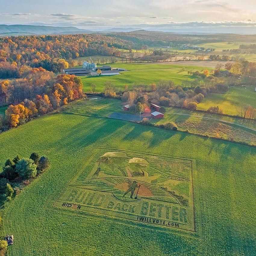Crop artist Stan Herd created an earthwork in a field in Ferguson Township, Pennsylvania promoting the Biden presidential campaign.