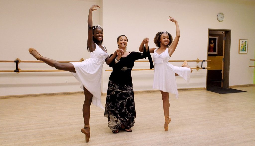 Debbie Allen with two of the dancers featured in Dance Dreams: Hot Chocolate Nutcracker.
