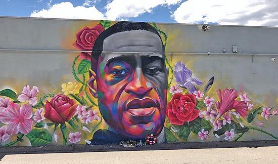 Mural of George Floyd in Denver, CO.
