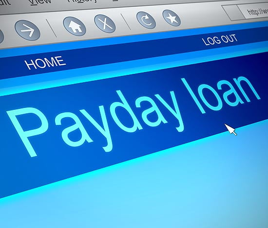 Payday loan computer screen